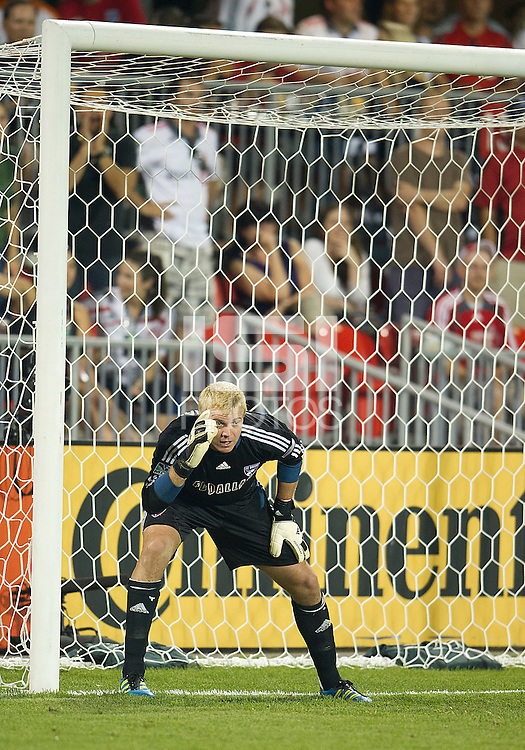 FC Dallas goalkeeper Kevin Hartman #1 in action during an MLS game between the FC Dallas and the Toronto FC at BMO Field in Toronto on July 20, 2011..FC Dallas won 1-0.