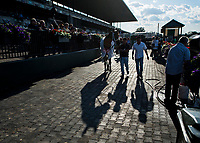 ELMONT, NY - JUNE 09: By the Moon #9 leaves the winner's circle after winning the Bed O' Roses Stakes during Friday racing at the Belmont Stakes Racing Festival at Belmont Park on June 9, 2017 in Elmont, New York (Photo by Scott Serio/Eclipse Sportswire/Getty Images)