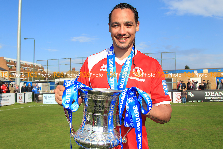 Scott Kinch with the trophy - Welling United vs Eastleigh - Blue Square Conference South Football at Park View Road - 27/04/13 - MANDATORY CREDIT: Simon Roe/TGSPHOTO - Self billing applies where appropriate - 0845 094 6026 - contact@tgsphoto.co.uk - NO UNPAID USE.