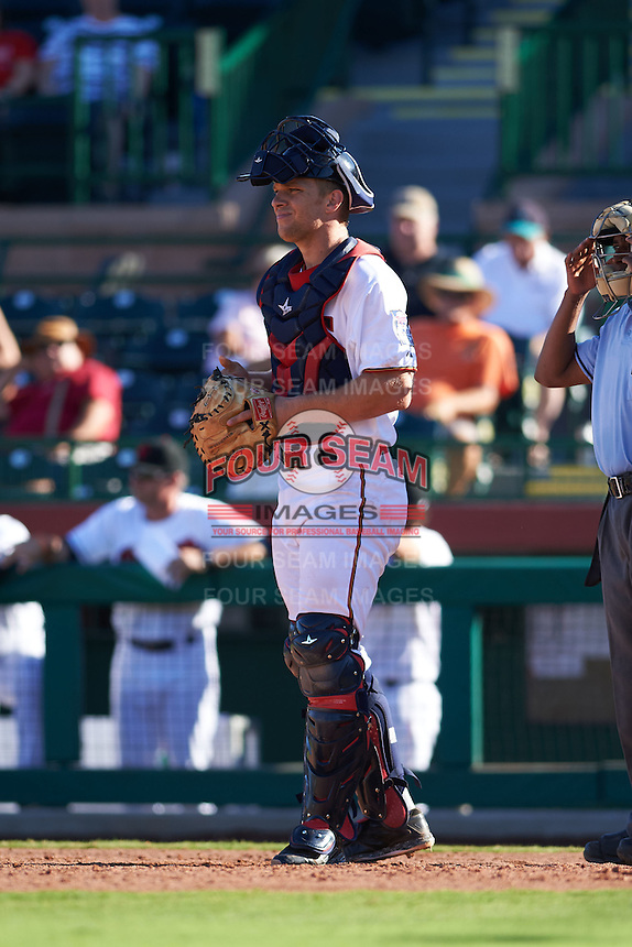 Scottsdale Scorpions catcher Stuart Turner (11) during an Arizona Fall League game against the Surprise Saguaros on October 22, 2015 at Scottsdale Stadium in Scottsdale, Arizona.  Surprise defeated Scottsdale 7-6.  (Mike Janes/Four Seam Images)