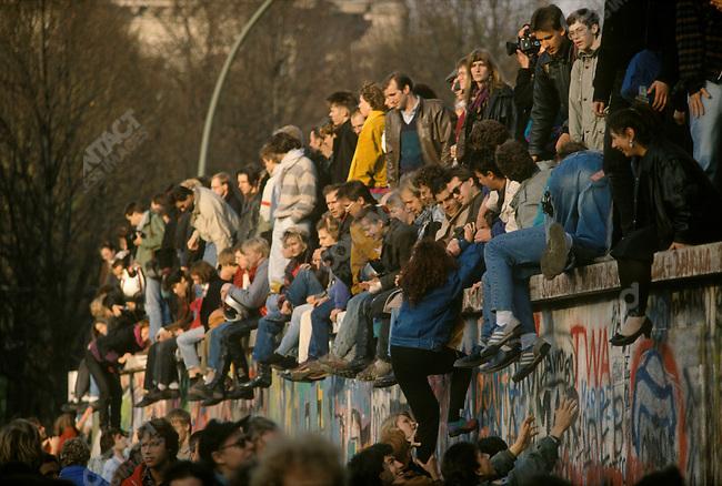 The opening of the Berlin Wall. Brandenburg Gate, East Berlin, Germany, November 1989