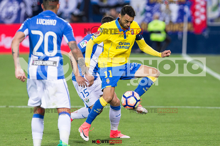 Jeronimo Figueroa Momo of UD Las Palmas during the match of La Liga between Deportivo Leganes and Union Deportiva Las Palmas  Butarque Stadium  in Madrid, Spain. April 25, 2017. (ALTERPHOTOS/Rodrigo Jimenez)