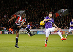 Clayton Donaldson of Sheffield Utd  mis hits an attempt on goal during the Championship match at Bramall Lane Stadium, Sheffield. Picture date 30th December 2017. Picture credit should read: Simon Bellis/Sportimage