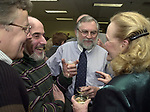 Bob Keene, Stan Wolfson, Tony Marro, and Rosemary Skapley at champagne get together of Newsday staff in the City room to toast the departure of colleagues on Friday March 1, 2002. (Photo by Jim Peppler).