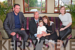 Pictured at the christening of Baby Thomas Anthony Lynch in the Devon Inn Hotel, Templeglantine on Sunday were L-R: Dominic, godfather, Damien, father, Baby Thomas Anthony and Elizabeth Lynch, mother, Stratford Upon Avon, UK, and Margaret Morris, godmother, Clonakillty.  The christening was held in Knocknagoshel Church at 12 o clock.  Priests name was Canon Eoin Mangan.