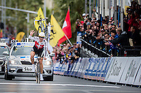 GEELONG, 30 SEPTEMBER - Fabian Cancellara of Switzerland crossing the finish line at the 2010 UCI Road World Championships time trial event in Geelong, Victoria, Australia. Cancellara won the event and became the first person to win a record four time trial titles. (Photo Sydney Low / syd-low.com)