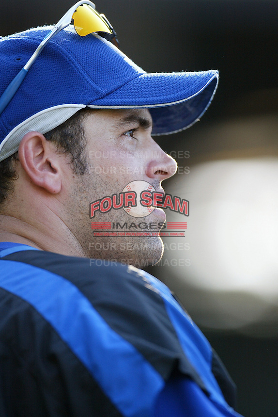 David DeJesus of the Kansas City Royals during batting practice before a game against the Los Angeles Angels in a 2007 MLB season game at Angel Stadium in Anaheim, California. (Larry Goren/Four Seam Images)