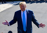 United States President Donald J. Trump makes remarks and answers questions from the media as he departs the South Lawn of the White House in Washington, DC for a day of activities in San Antonio, Texas and Houston, Texas on April 10, 2019.<br /> CAP/MPI/RS<br /> &copy;RS/MPI/Capital Pictures