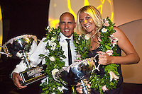 "COOLANGATTA, Australia (Thursday, February 26, 2009) - .2008 World Surfing Champions Kelly Slater (USA) and Stephanie Gilmore (AUS)  at the ASP World Champions' Crowning took place tonight at the Gold Coast Convention and Exhibition Centre beginning at 6:30pm.. .Surfing's ""night of nights"", the ASP World Champions' Crowning, was a gala event, hosting the world's best surfers as well as distinguished figures from the surfing industry in honor of the 2008 ASP World Champions.. .Kelly Slater (USA), 36, reigning and nine-time ASP World Champion, accepted his unprecedented ninth ASP World Title award just days before beginning his hunt for an incredible 10th Crown at the upcoming Quiksilver Pro Gold Coast presented by LG Mobile.. .Stephanie Gilmore (AUS), 21, reigning two-time ASP Women's World Champion, received her second consecutive ASP Women's World Title cup, and the young natural-footer will soon embark on a campaign to make it a three-peat in 2009. Gilmore will begin this weekend at the opening event of the 2009 ASP Women's World Tour season, the Roxy Pro Gold Coast presented by LG Mobile.. .Other ASP Dream Tour athletes  recognized were respective Runner-Ups Bede Durbidge (AUS), 25, and Silvana Lima (BRA), 24, as well as Rookies of the Year Dane Reynolds (USA), 23, and Nicola Atherton (AUS), 22.. .Bonga Perkins (HAW), 36, and Joy Monahan (HAW), 22, took out the ASP World Longboarding and ASP Women's World Longboarding Titles respectively, while Nathaniel Curran (USA), 24, and Sally Fitzgibbons (AUS), 18, took home hardware for their respective No. 1 finishes on the ASP World Qualifying Series last season.. .In addition to honoring the champions from 2008, the ASP World Champions' Crowning also recognized athletes who  earnt the 2008 ASP World Tour 'Most Improved',  a tie between Adrian Buchan (AUS) and Adrian de Souz (BRA) the 2008 ASP Women's World Tour 'Most Improved', the ASP Service to the Sport Award and the prestigious Peter Whittaker Award take out by Tayl"