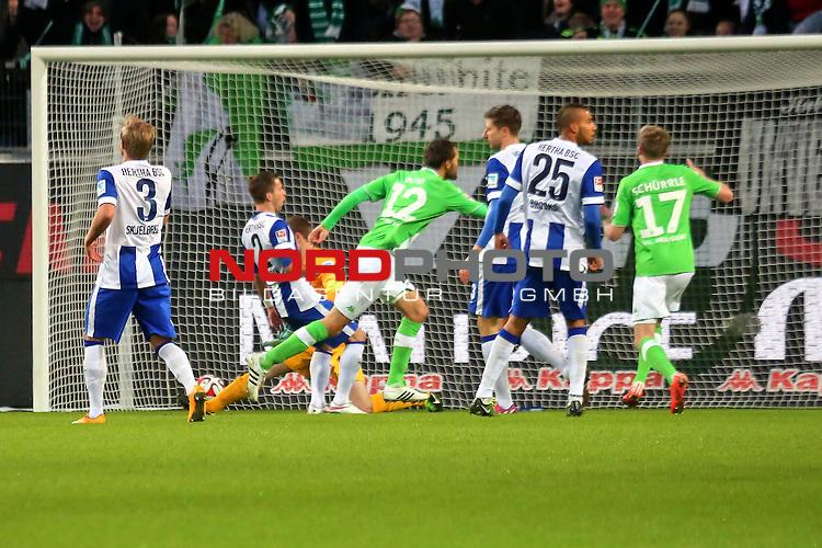 22.02..2015 Volkswagen Arena, Wolfsburg, GER, 1.FBL, VfL Wolfsburg vs Hertha BSC Berlin , im Bild <br /> <br /> Bas Dost (VfL Wolfsburg) zum 1 zu 0 in der 10. Minute <br /> <br /> Foto &copy; nordphoto / Rust