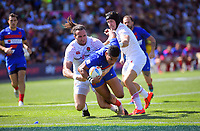 Remi Siega (France) scores in the men's semifinal against England. Day two of the 2020 HSBC World Sevens Series Hamilton at FMG Stadium in Hamilton, New Zealand on Sunday, 26 January 2020. Photo: Dave Lintott / lintottphoto.co.nz