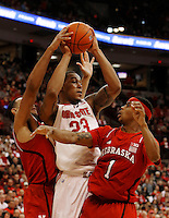 Ohio State Buckeyes center Amir Williams (23) battles for position against Nebraska Cornhuskers guard Deverell Biggs (1) in the second half at Value City Arena in Columbus Jan. 4, 2013 (Dispatch photo by Eric Albrecht)