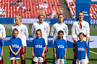 FRISCO, TX - MARCH 11: Rachel Daly #2, Millie Bright #6, Carly Telford #1 and Jill Scott #8 of England stand for introductions during a game between England and Spain at Toyota Stadium on March 11, 2020 in Frisco, Texas.