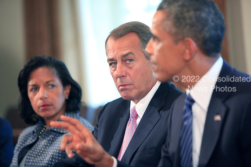 United States President Barack Obama meets with bipartisan Members of Congress in the Cabinet Room of the White House in Washington, D.C. on September 3, 2013. From left to right:  Ambassador Susan Rice, National Security Advisor; Speaker of the U.S. House John Boehner (Republican of Ohio); President Obama. <br /> Credit: Dennis Brack / Pool via CNP