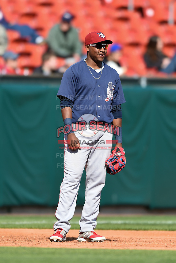 Lehigh Valley IronPigs third baseman Maikel Franco (10) during a game against the Buffalo Bisons on May 17, 2014 at Coca-Cola Field in Buffalo, New  York.  Lehigh Valley defeated Buffalo 2-1  (Mike Janes/Four Seam Images)