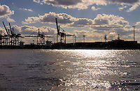 Heavy industry on thr river Elbe, Hamburg, Germany.