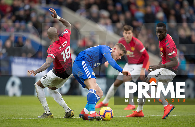 Harvey Barnes of Leicester City takes on Eric Bailly & Ashley Young of Man Utd during the Premier League match between Leicester City and Manchester United at the King Power Stadium, Leicester, England on 3 February 2019. Photo by Andy Rowland.