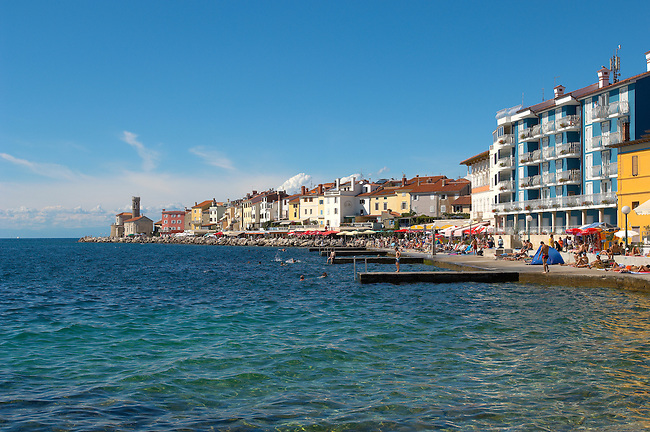 Sea Front with retaurants & hotels. Piran , Slovenia