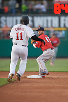 Pawtucket Red Sox second baseman Dustin Pedroia (15) turns a double play as Jermaine Curtis (11) runs toward the base during a game against the Rochester Red Wings on May 19, 2018 at Frontier Field in Rochester, New York.  Rochester defeated Pawtucket 2-1.  (Mike Janes/Four Seam Images)