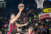 9th February 2018, Aleksandar Nikolic Hall, Belgrade, Serbia; Euroleague Basketball, Crvenz Zvezda mts Belgrade versus AX Armani Exchange Olimpia Milan; Guard Dairis Bertans of AX Armani Exchange Olimpia Milan drives to the basket