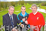 General manager Maurice O'Meara pops the champange to celebrate the announcement that next years Irish Open is to be held in Killarney Golf club with David Keating Killarney Golf Club Lead PGA Professional (red) and Billy O'Boyle Killarney Golf Club PGA Professional looking over the course on Wednesday