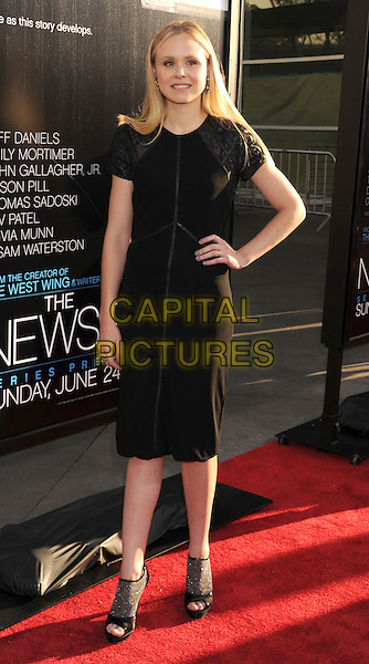 "Alison Pill.HBO's ""The Newsroom"" Los Angeles Premiere held at The Cinerama Dome, Hollywood, California, USA..June 20th, 2012.full length black dress hand on hip open toe ankle boots shoes .CAP/ROT/TM.©Tony Michaels/Roth Stock/Capital Pictures"