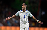 Demarai Gray (Leicester City) of England U21 celebrates the first goal during the UEFA EURO U-21 First qualifying round International match between England 21 and Latvia U21 at the Goldsands Stadium, Bournemouth, England on 5 September 2017. Photo by Andy Rowland.