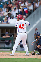 Frank Camilo Morejon Reyes (45) of the Cuban National Team at bat against the US Collegiate National Team at BB&T BallPark on July 4, 2015 in Charlotte, North Carolina.  The United State Collegiate National Team defeated the Cuban National Team 11-1.  (Brian Westerholt/Four Seam Images)