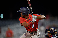 Jacksonville Jumbo Shrimp Magneuris Sierra (18) at bat during a Southern League game against the Mississippi Braves on May 4, 2019 at Trustmark Park in Pearl, Mississippi.  Mississippi defeated Jacksonville 2-0.  (Mike Janes/Four Seam Images)