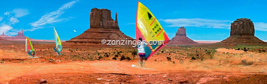 Monument Valley, Navajo Tribal Park, Colorado Plateau, Windsurfers, CGI, Panorama (extends into Arizona & Utah)