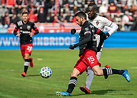 WASHINGTON, DC - FEBRUARY 29: Steven Birnbaum #15 of DC United clears the ball away from Kei Kamara #23 of the Colorado Rapids during a game between Colorado Rapids and D.C. United at Audi Field on February 29, 2020 in Washington, DC.