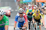 Rudy Molard (FRA) Groupama-FDJ crosses the finish line at the end of Stage 2 of the Criterium du Dauphine 2019, running 180km from Mauriac to Craponne-sur-Arzon, France. 9th June 2019<br /> Picture: Colin Flockton | Cyclefile<br /> All photos usage must carry mandatory copyright credit (© Cyclefile | Colin Flockton)