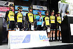 Race leader Dutch National Champion Dylan Groenewegen (NED) with his Team Lotto NL-Jumbo at sign on before the start of Stage 2 of the Tour de Yorkshire 2017 running 122.5km from Tadcaster to Harrogate, England. 29th April 2017. <br /> Picture: ASO/A.Broadway | Cyclefile<br /> <br /> <br /> All photos usage must carry mandatory copyright credit (&copy; Cyclefile | ASO/A.Broadway)