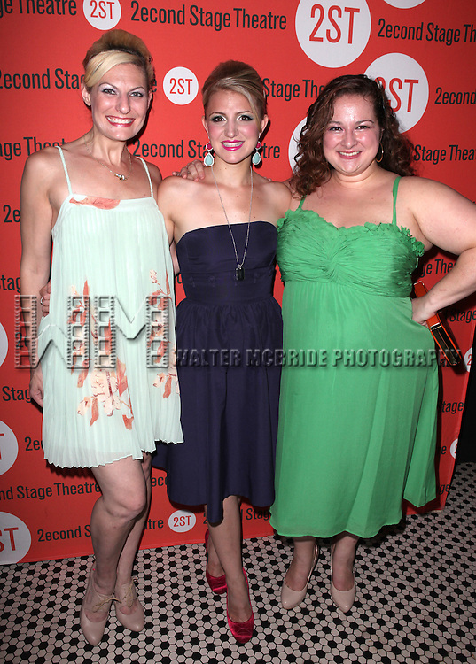 Becca Ayers, Annaleigh Ashford & Dierdre Friel  .attending the after Party for Off-Broadway Opening Night Performance of Second Stage Theatre's 'Dogfight' at HB Burger in New York City.