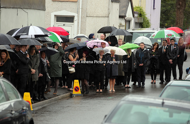 """COPY BY TOM BEDFORD<br />Pictured: Mourners attending the service at the Jerusalem Baptist Chapel, Merthyr Tydfil, Wales, UK. Friday 18 August 2017<br />Re: The funeral of a toddler who died after a parked Range Rover's brakes failed and it hit a garden wall which fell on top of her will be held today at Jerusalem Baptist Chapel in Merthyr Tydfil.<br />One year old Pearl Melody Black and her eight-month-old brother were taken to hospital after the incident in south Wales.<br />Pearl's family, father Paul who is The Voice contestant and mum Gemma have said she was """"as bright as the stars""""."""