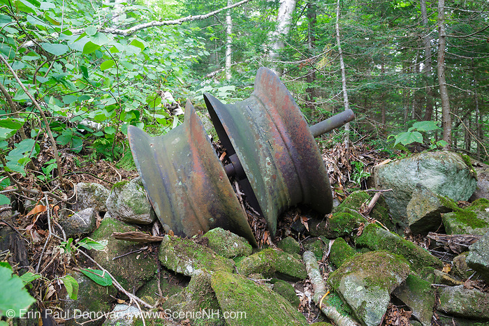 Part of a snubbing winch (artifact) along an abandoned sled road off the Gordon Pond Railroad in Kinsman Notch of the White Mountains, New Hampshire USA. This was a logging railroad in operation from 1907-1916 +/-.