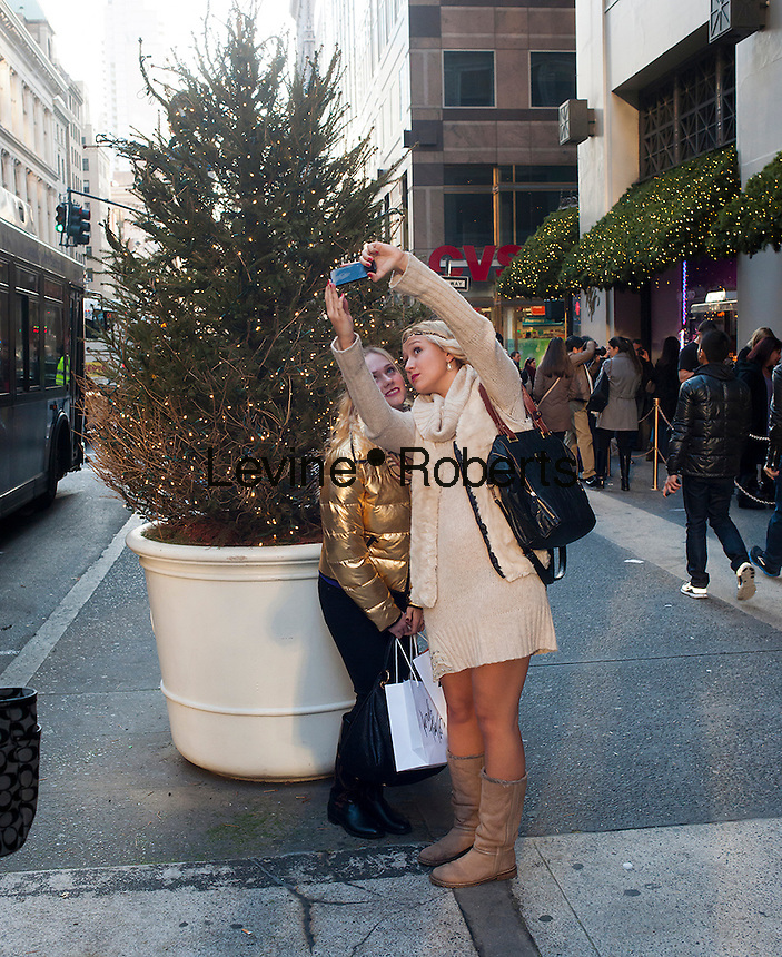 Shoppers outside the Lord & Taylor department store in New York on Thanksgiving Day, Thursday, November 22, 2012. Lord & Taylor for the first time joins other retailers opening their doors on Thanksgiving day with some people are calling  the day Grey Thursday. (© Richard B. Levine)