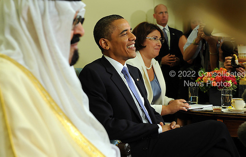 United States President Barack Obama and King Abdullah of Saudi Arabia speak to the media after their meeting in the Oval Office of the White House in Washington on June 29, 2010.  .Credit: Roger L. Wollenberg - Pool via CNP