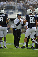 07 September 2013:  Penn State coach Bill O'Brien coaches TE Adam Breneman (81). The Penn State Nittany Lions defeated the Eastern Michigan Eagles 45-7 at Beaver Stadium in State College, PA.