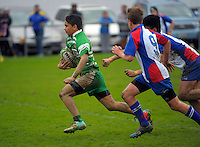 Action from the Under-14 representative rugby match between Manawatu (green and white) and Horowhenua-Kapiti (red white and blue) at Arena Manawatu, Palmerston North, New Zealand on Friday, 4 September 2015. Photo: Dave Lintott / lintottphoto.co.nz