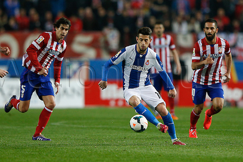 15.03.2014. Madrid, Spain. La Liga football. Atletico Madrid versus Espanyol at Vicente Calderon stadium.  Joan Capdevila Méndez (Midfielder of Espanyol)