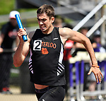 Waterloo anchor runner Cayden Kirkham and his team won the 4 X 800 meter relay at the Collinsville Invitational Boys Track & Field Meet on Saturday May 5, 2018. Tim Vizer | Special to STLhighschoolsports.com