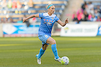 Bridgeview, IL, USA - Saturday, April 23, 2016: Chicago Red Stars midfielder Julie Johnston (8) during a regular season National Women's Soccer League match between the Chicago Red Stars and the Western New York Flash at Toyota Park. Chicago won 1-0.