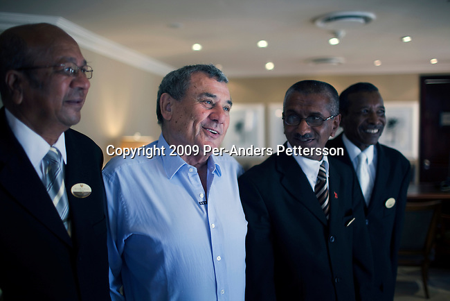 DURBAN, SOUTH AFRICA - MARCH 31: Sol Kerzner, the South African hotel magnate, meets old friends at his first five star hotel on March 31, 2009 in Durban, South Africa. Mr. Kerzner opened The Beverly Hills Hotel in Durban in 1964. Mr. Kerzner has finally returned to SA after spending many years overseas developing hotels. He opened a One&Only Hotel in Cape Town on April 3, 2009. (Photo by Per-Anders Pettersson)
