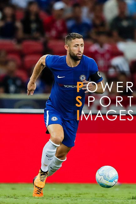 Chelsea Defender Gary Cahill in action during the International Champions Cup match between Chelsea FC and FC Bayern Munich at National Stadium on July 25, 2017 in Singapore. Photo by Marcio Rodrigo Machado / Power Sport Images