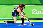 Michelle Vittese #9 of United States passes during Great Britain vs USA in a women's Pool B game at the Rio 2016 Olympics at the Olympic Hockey Centre in Rio de Janeiro, Brazil.