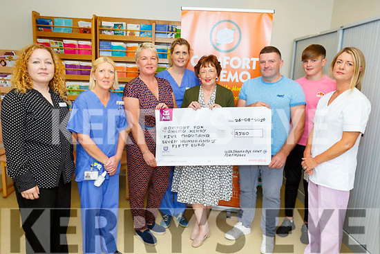 Paula Brennan and the Brennan family from Portmagee, present a cheque in the amount of €5,750 to  the Comfort for Chemo in the Oncology Unit in the UHK on Monday.<br /> L to r: Lorraine Guerin, Fiona Searls, Paula Brennan, Una O'Driscoll, Mary Fitzgerald (Chairperson of Comfort for Chemo), Michael and Keith Brennan and Cora Walsh.