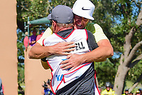 Kevin Chappell (USA) and caddie Joe Greiner celebrate winning the 2017 Valero Texas Open, AT&amp;T Oaks Course, TPC San Antonio, San Antonio, Texas, USA. 4/23/2017.<br /> Picture: Golffile | Ken Murray<br /> <br /> <br /> All photo usage must carry mandatory copyright credit (&copy; Golffile | Ken Murray)