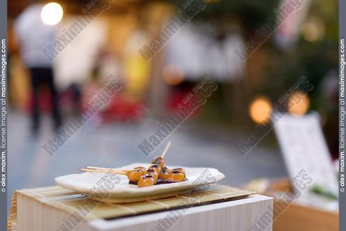 Mitarashi Dango Steaming Japanese Sweet Grilled Dumpling Balls On A