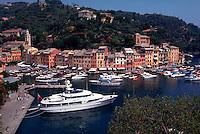 View of Portofino, Italy seaport on the Mediterranean Sea